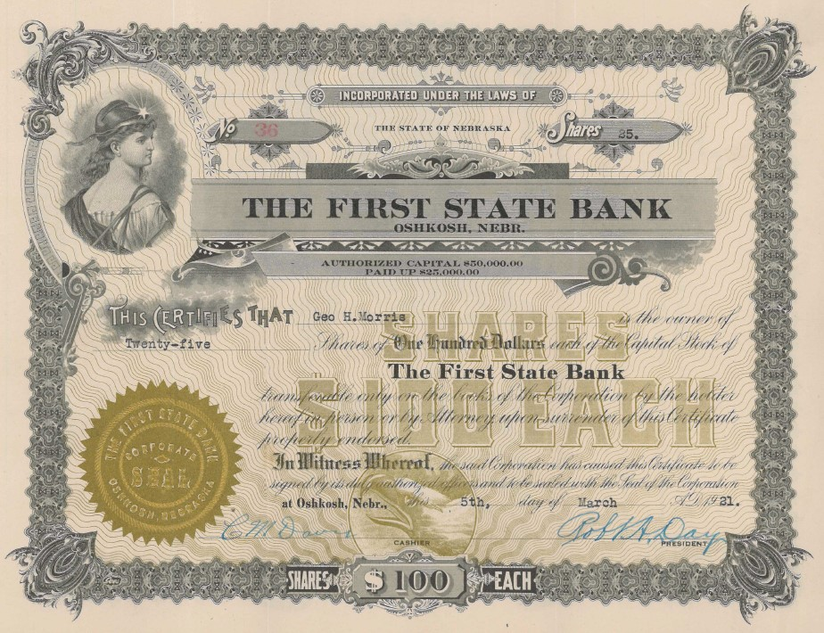 Old Timey Stock Certificate